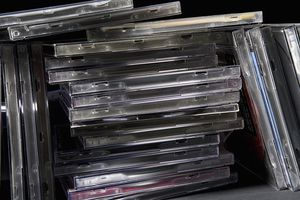 Stack of CD jewel cases.