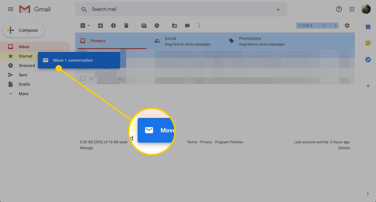 Gmail inbox with a message dragging to a label