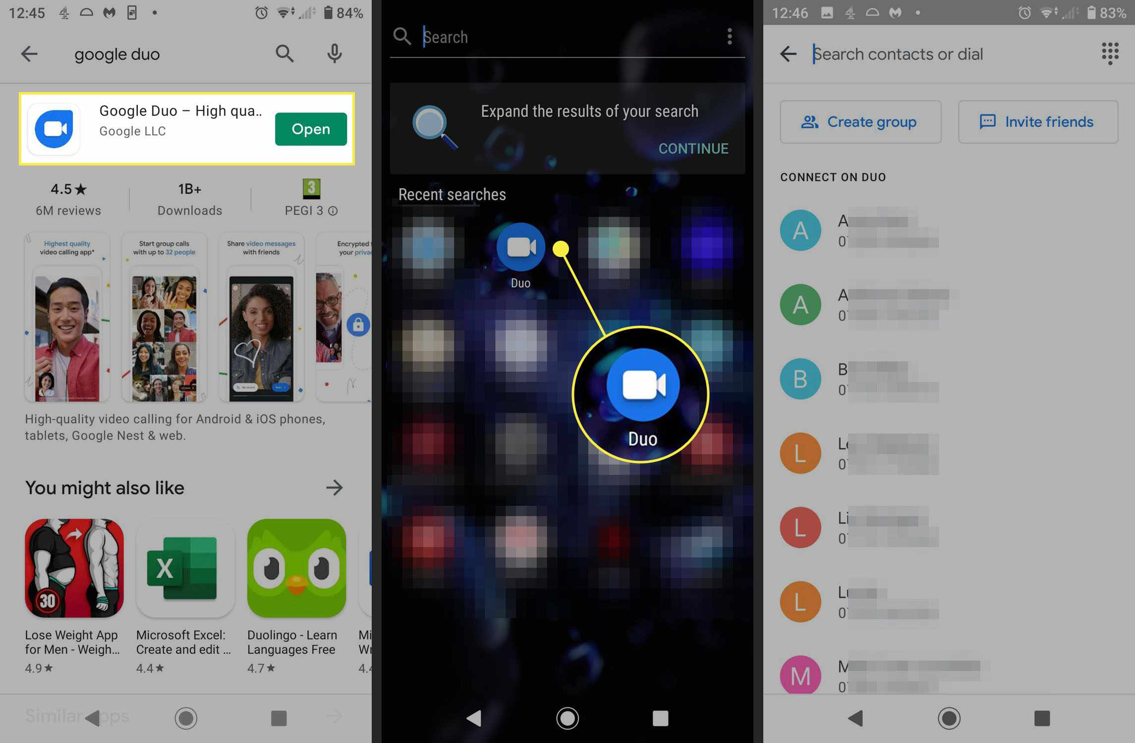 How to start up screen sharing in Google Duo.