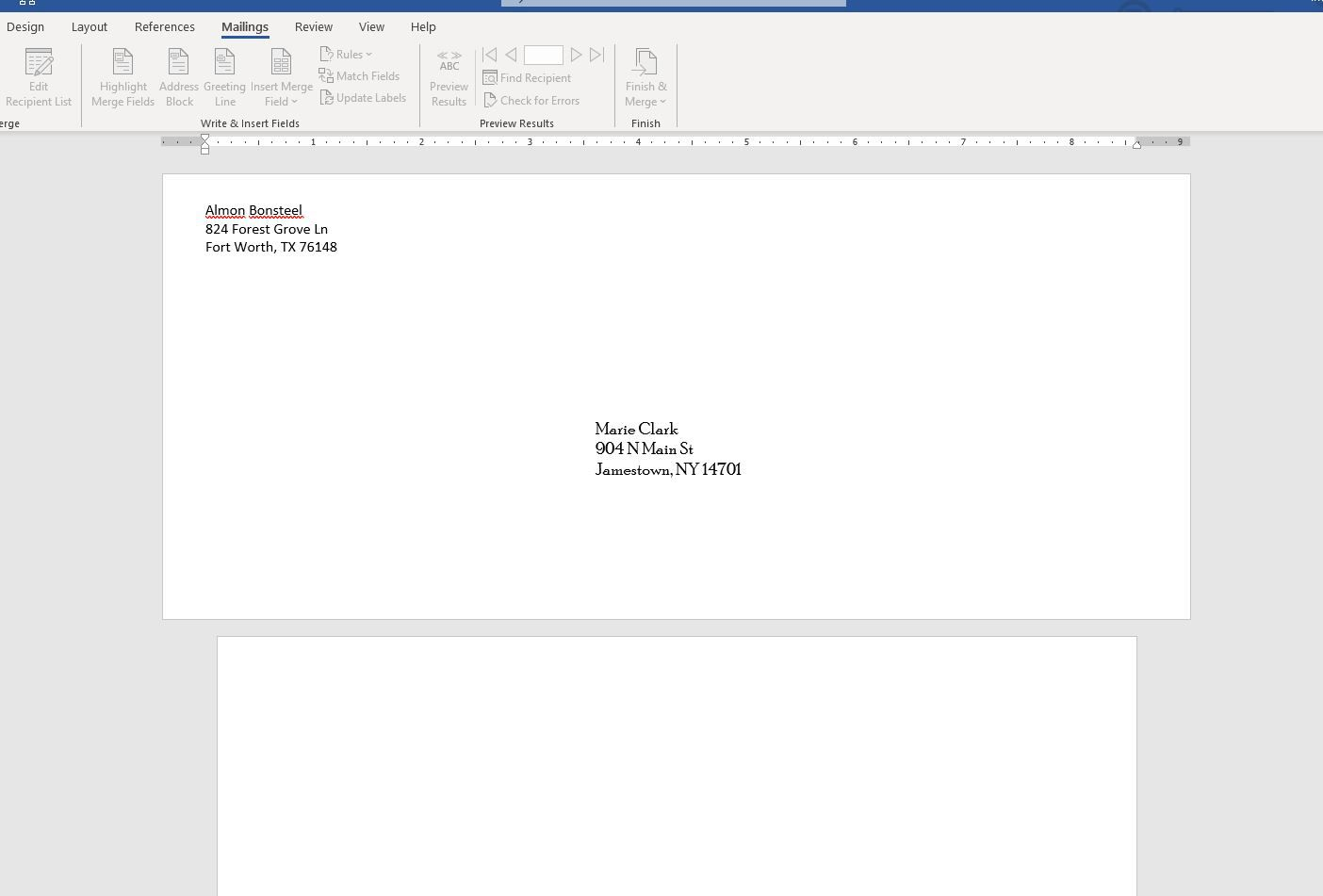 Screenshot of envelope added to document in Word