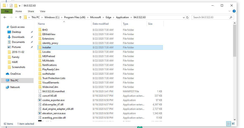 Edge Installer folder