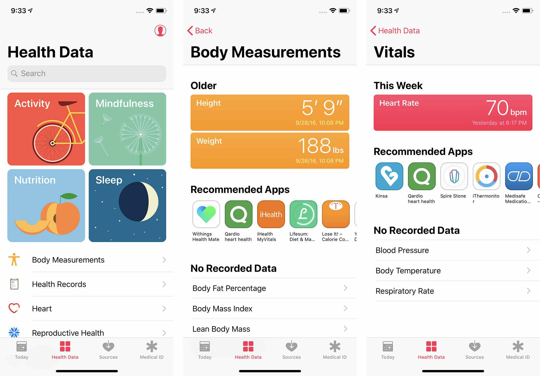 Screenshots of the Health Data section of the Apple Health app