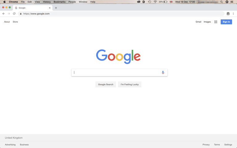 Screenshot of Google Chrome on Mac open on Google.com