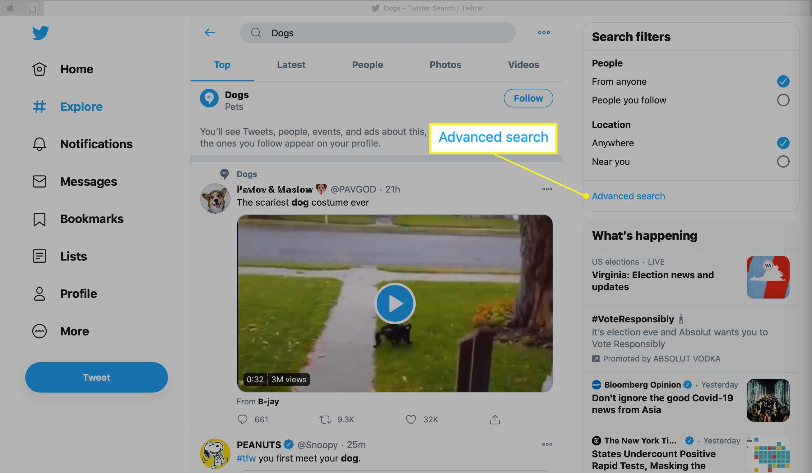 Twitter Advanced search link under Search filters