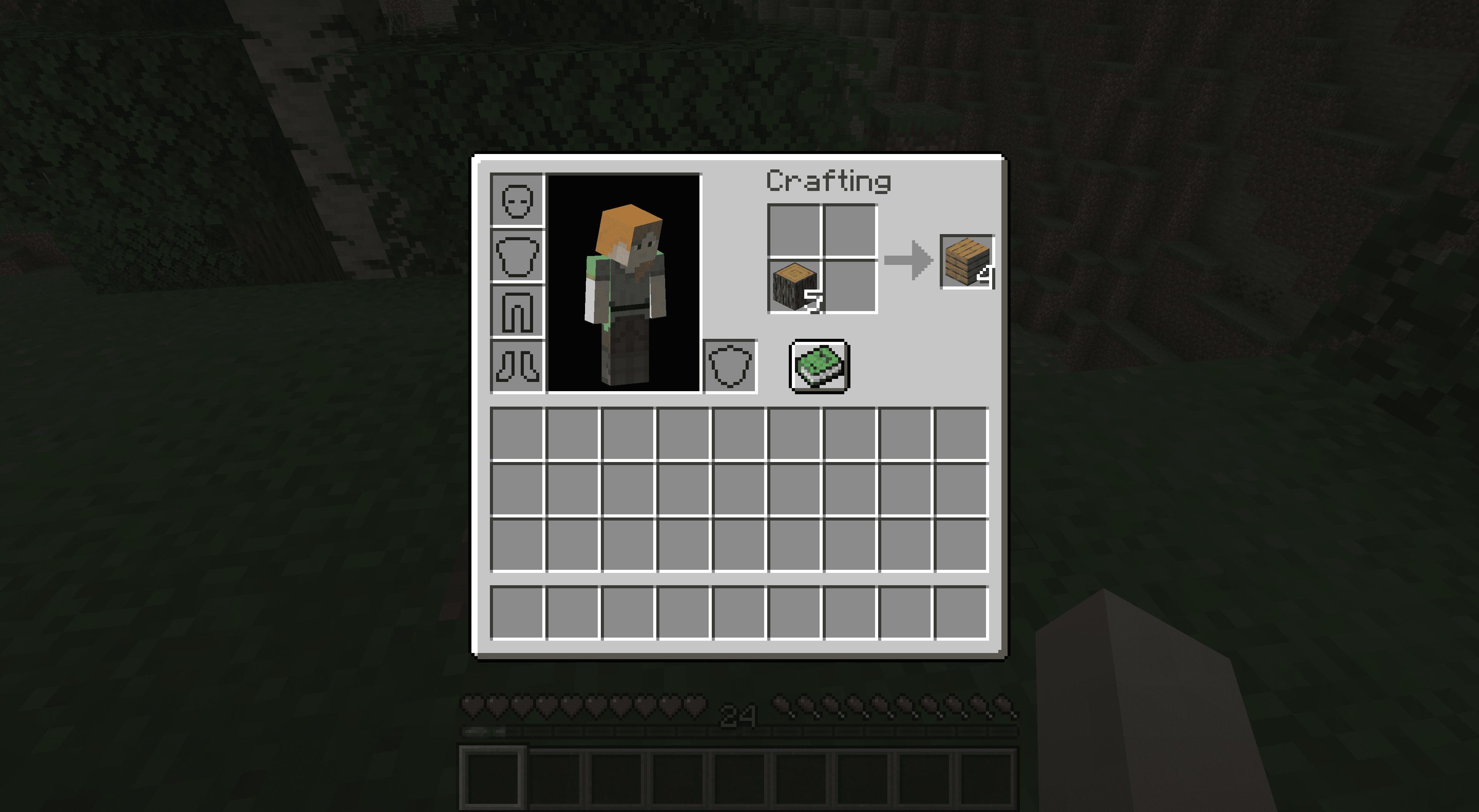 Making planks in Minecraft.