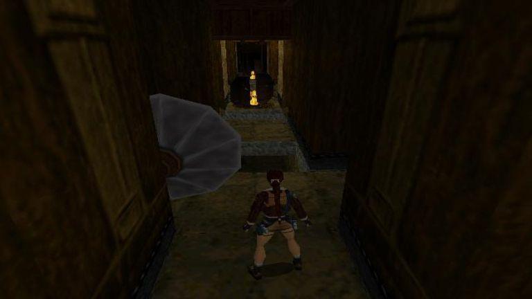 Lara Croft walking a hallway in Tomb Raider II