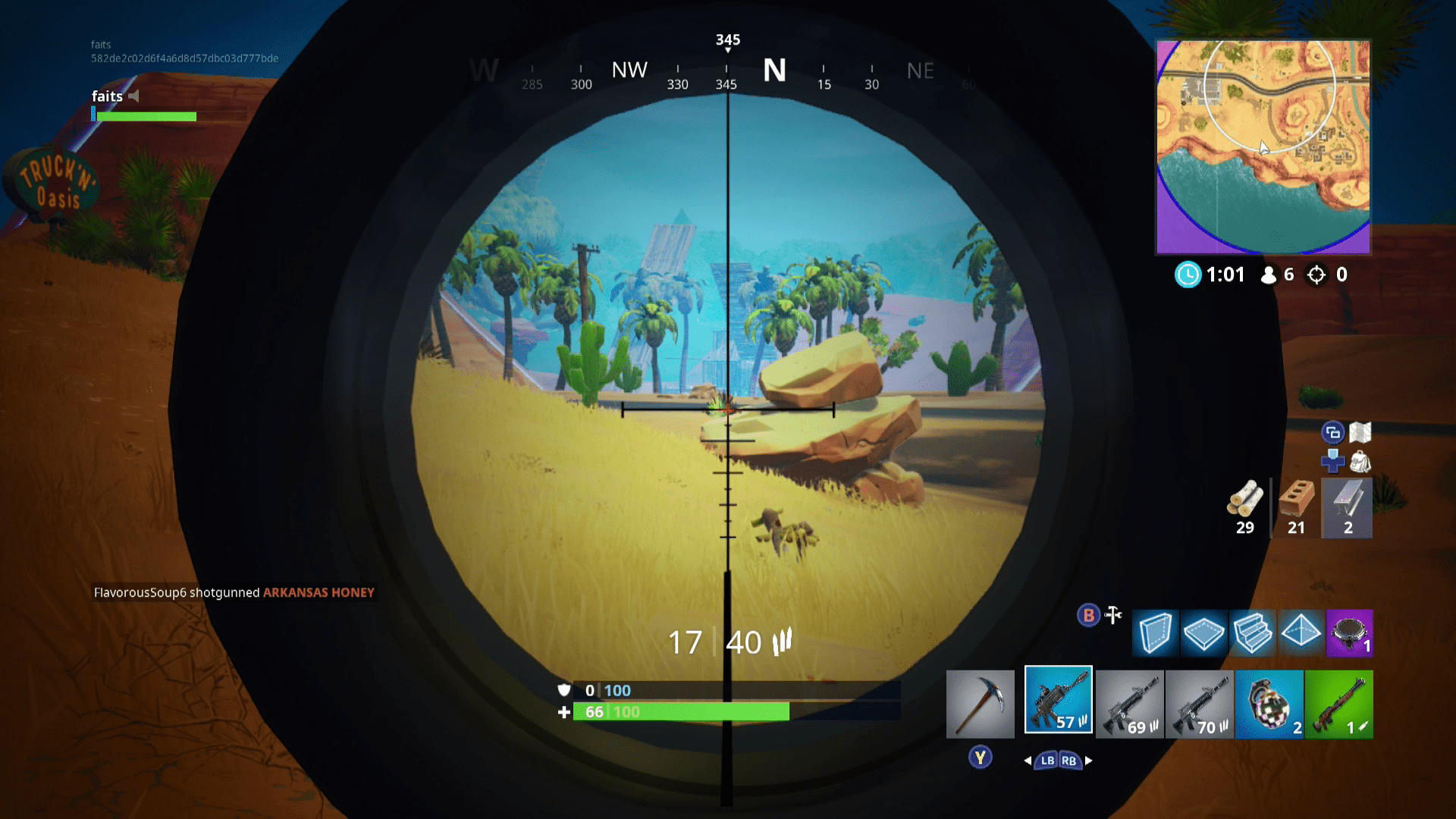 A screenshot of Fortnite showing a battlefield where other players are engaged.