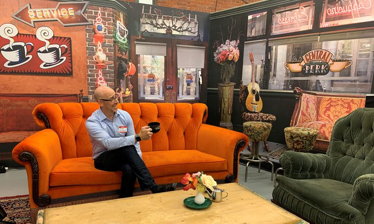 Lance Ulanoff sitting in Central Perk