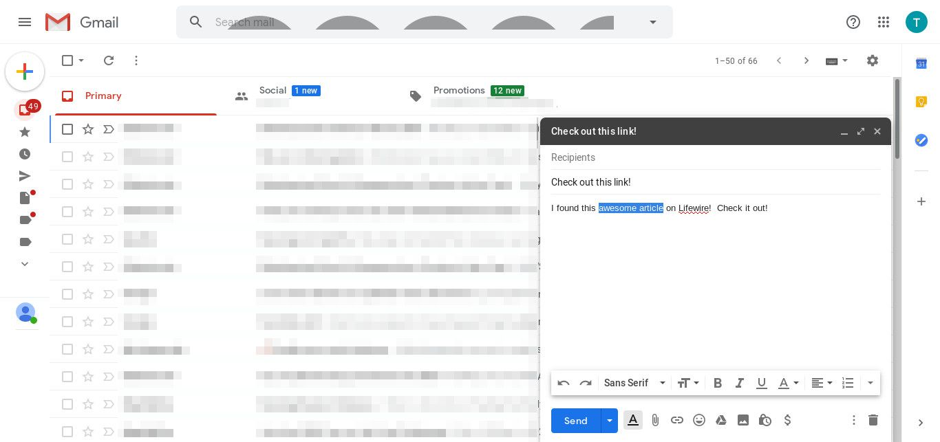Gmail highlight text for link