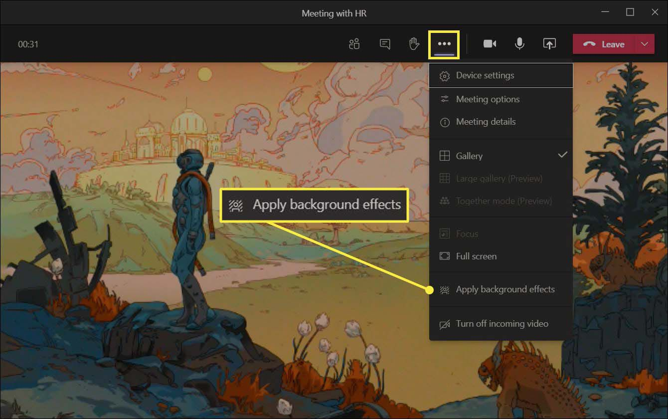 The Apply background effects menu item in Microsoft Teams.