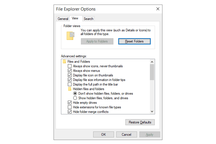 Screenshot of the option in Windows to hide extensions for known file types