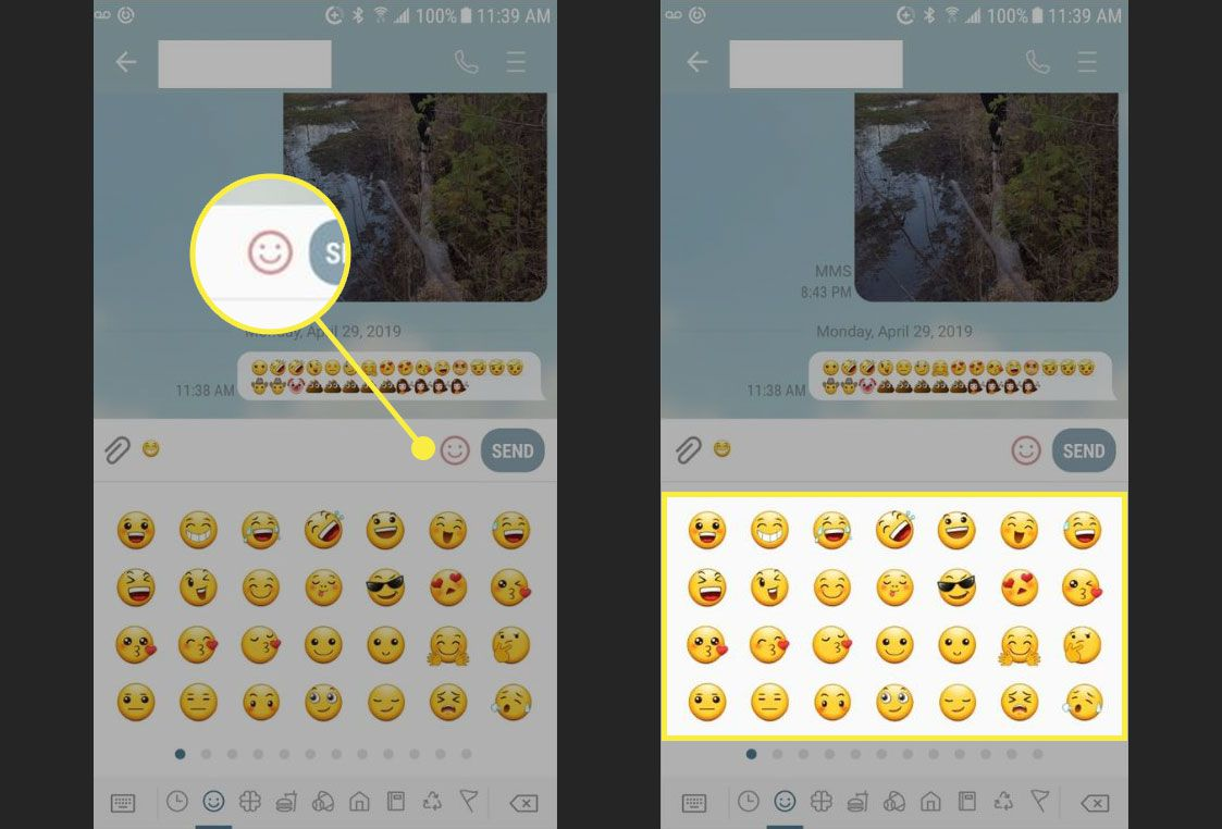The Emoji keyboard on android