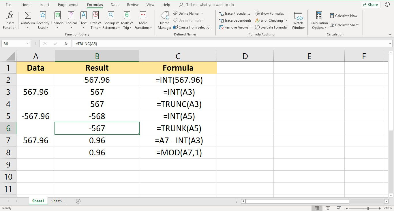 Round Down to the Nearest Integer in Excel with the INT Function