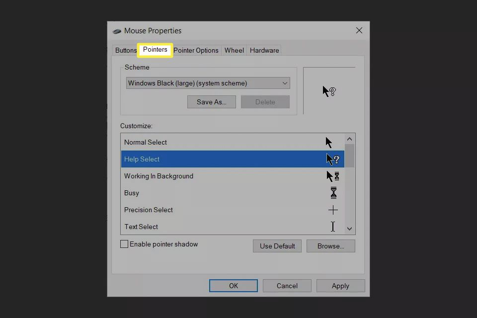Pointers tab in Mouse Properties