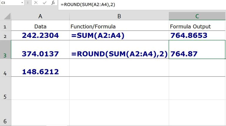 Nesting the ROUND and SUM Functions in Excel