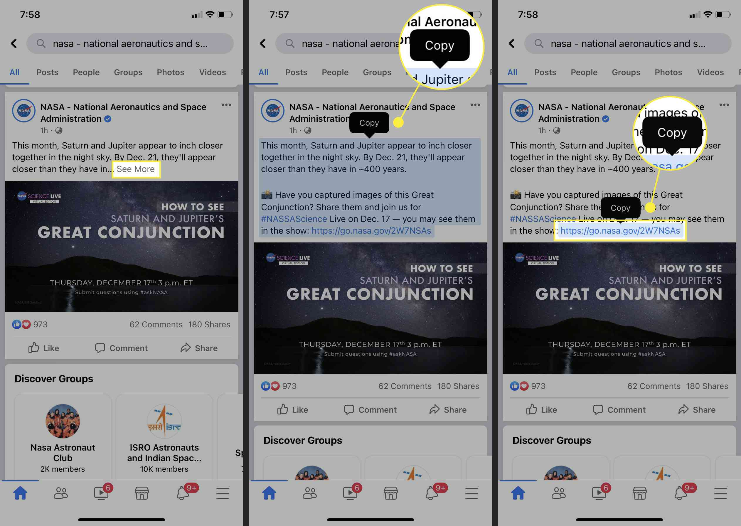 Copying text in the Facebook Mobile App.