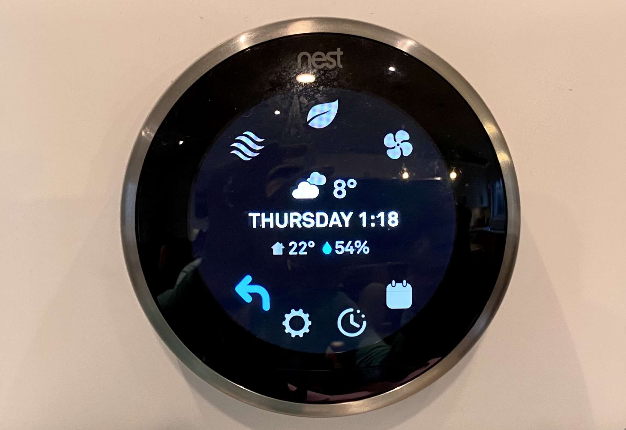 The menu on the Nest thermostat.
