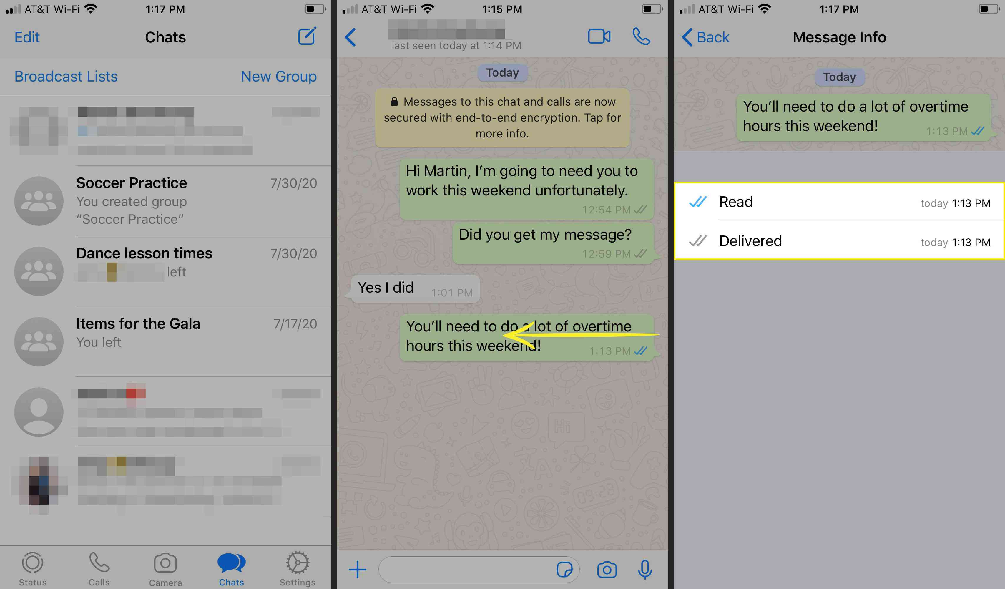 Message details in WhatsApp