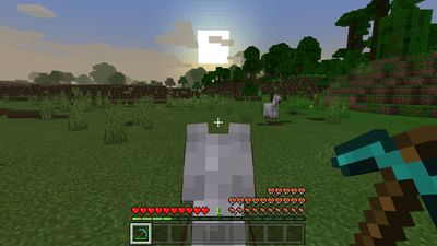 Riding a horse into the sunset in Minecraft.