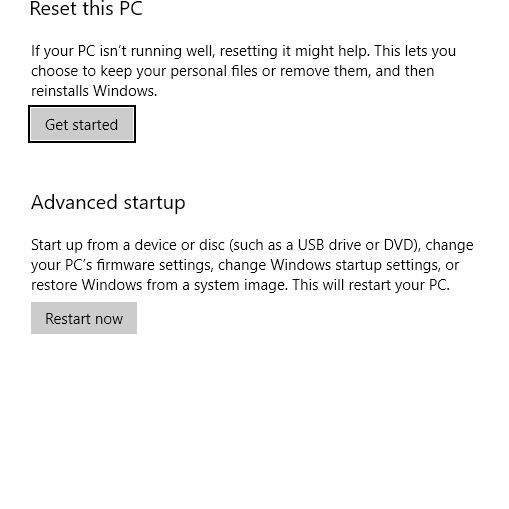A screen shot showing the Reset option in Settings.