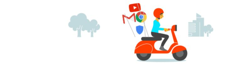 Illustration of woman on scooter demonstrating how Google Takeout allows users to take their data with them.