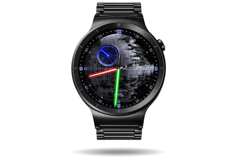 Death Star watch face on a Samsung Galaxy watch