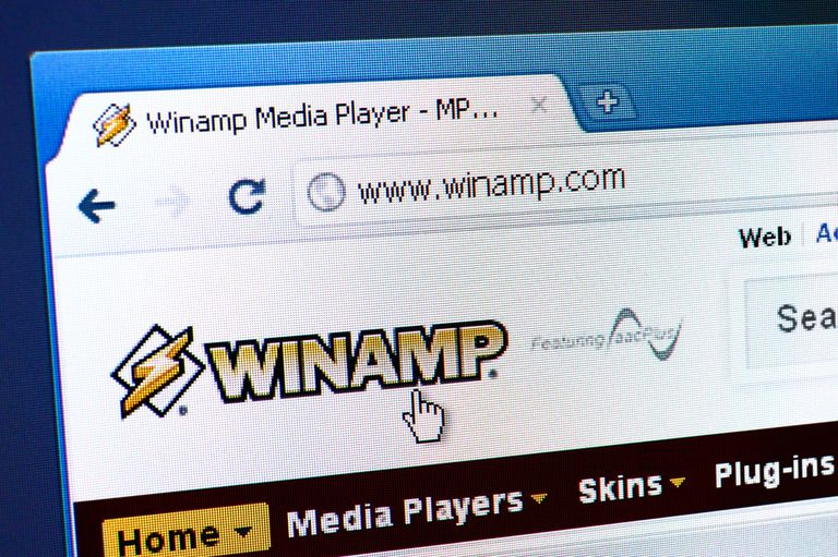 Winamp webpage on the browser