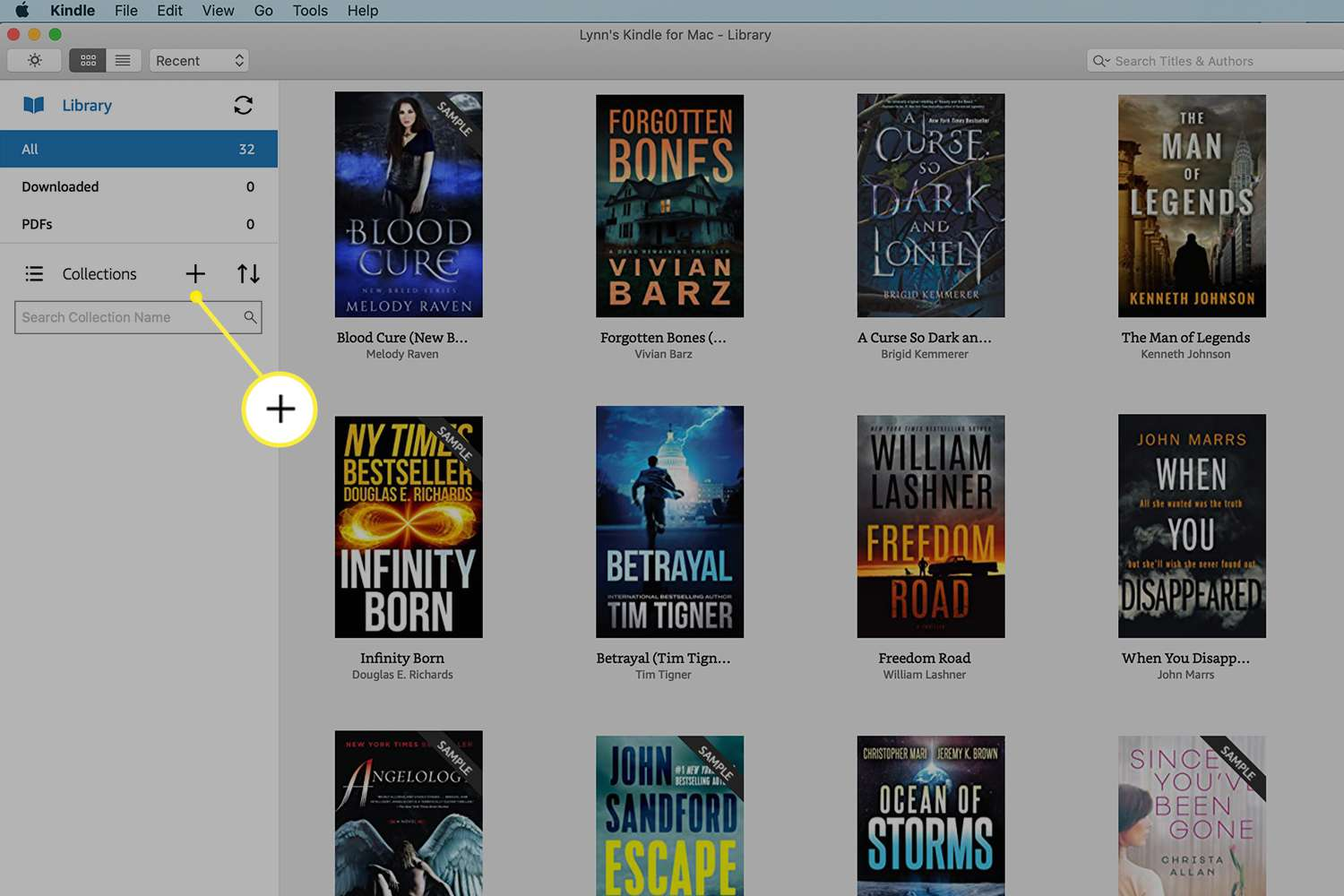 Kindle app for Mac with the + button by Collections highlighted