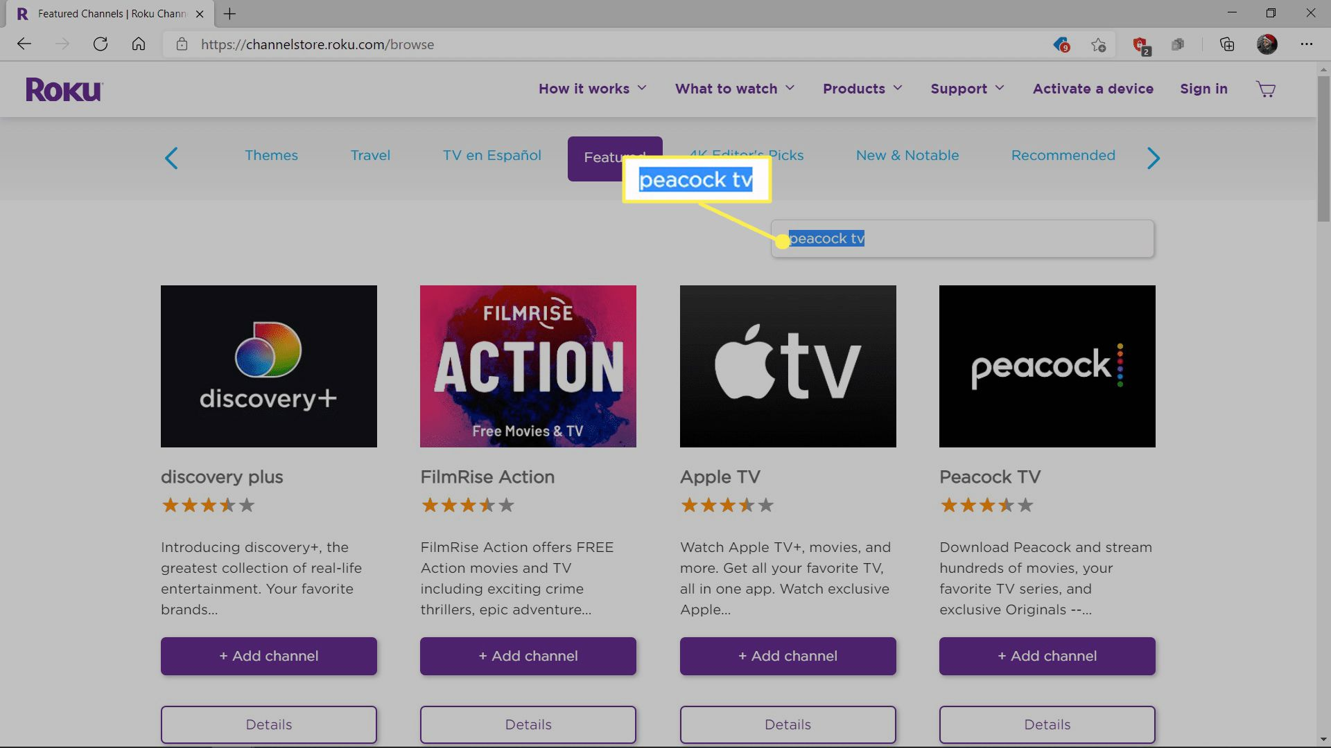 Searching for Peacock TV on the Roku Channel Store.