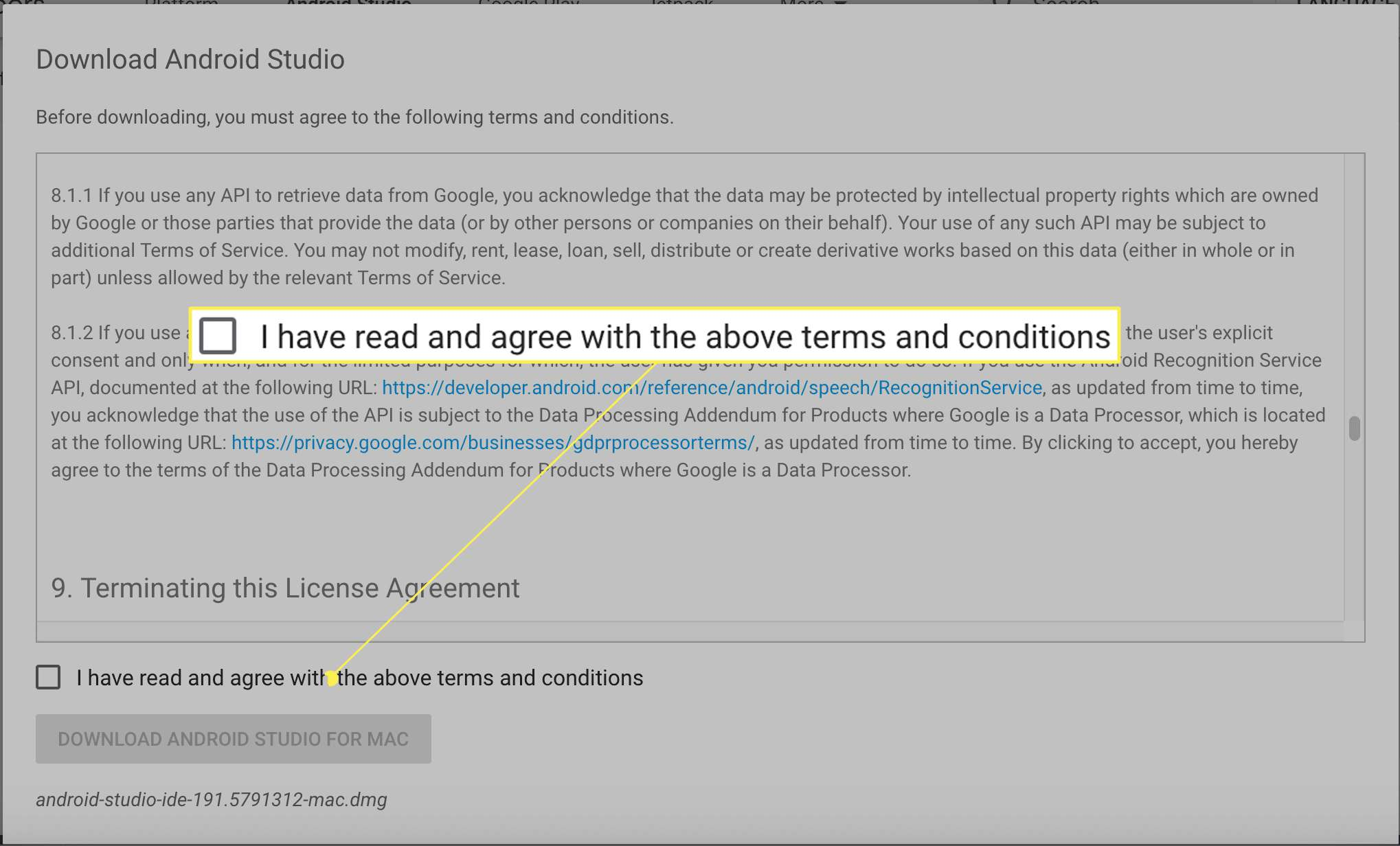 Android Studio terms agreement
