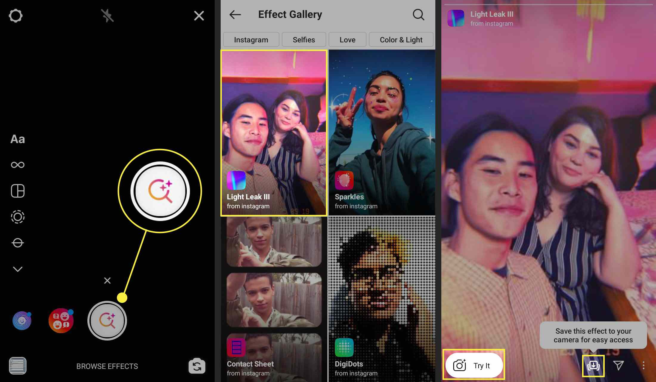 Browser Effect, Search, and Download icons in the Instagram app.
