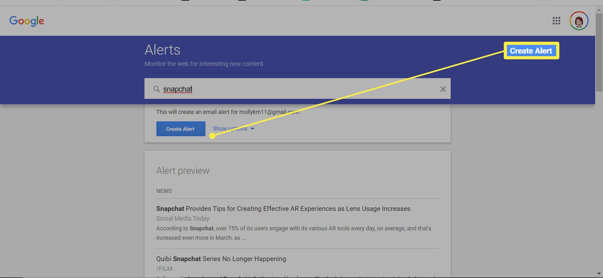 Creating a Google Alert for Snapchat.