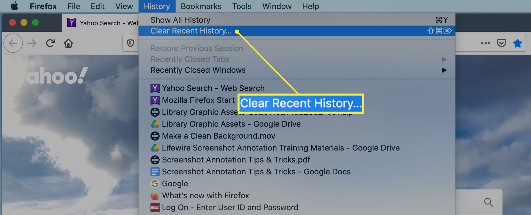 Firefox History menu with Clear Recent History highlighted
