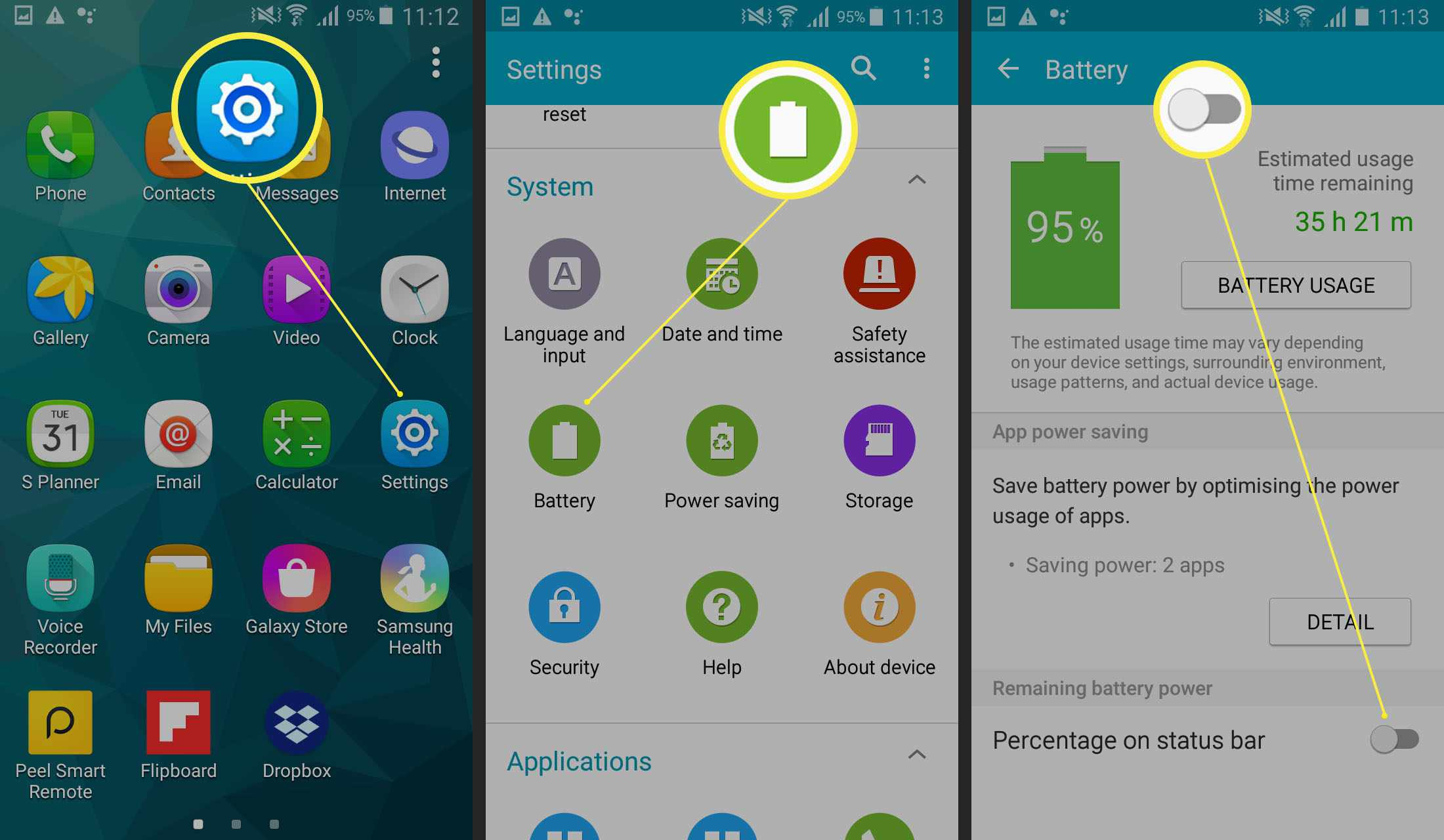 Steps required to show battery percentage on Samsung phones