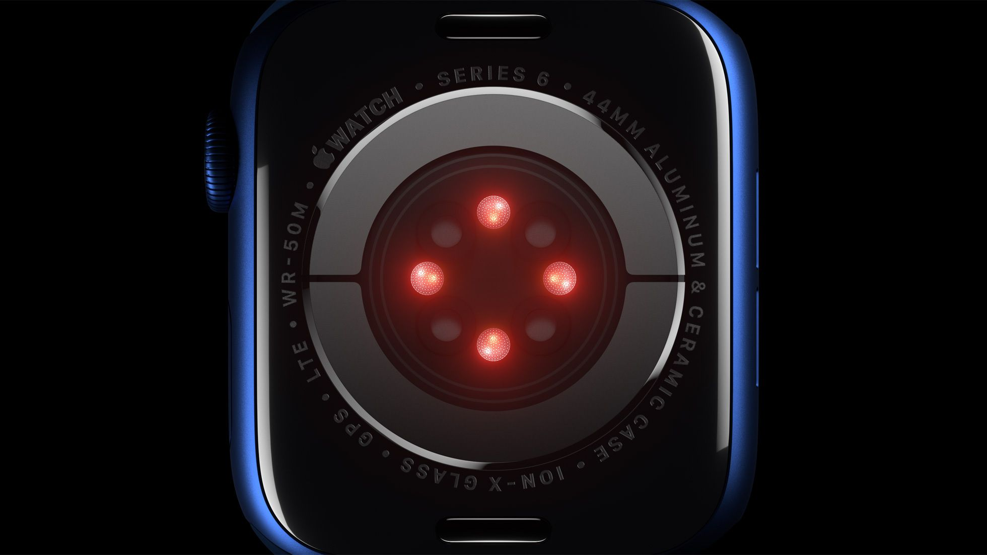 Apple Watch Series 6 sensor with red lights