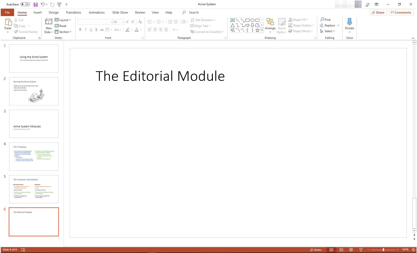 MS PowerPoint with Title Only slide layout displayed