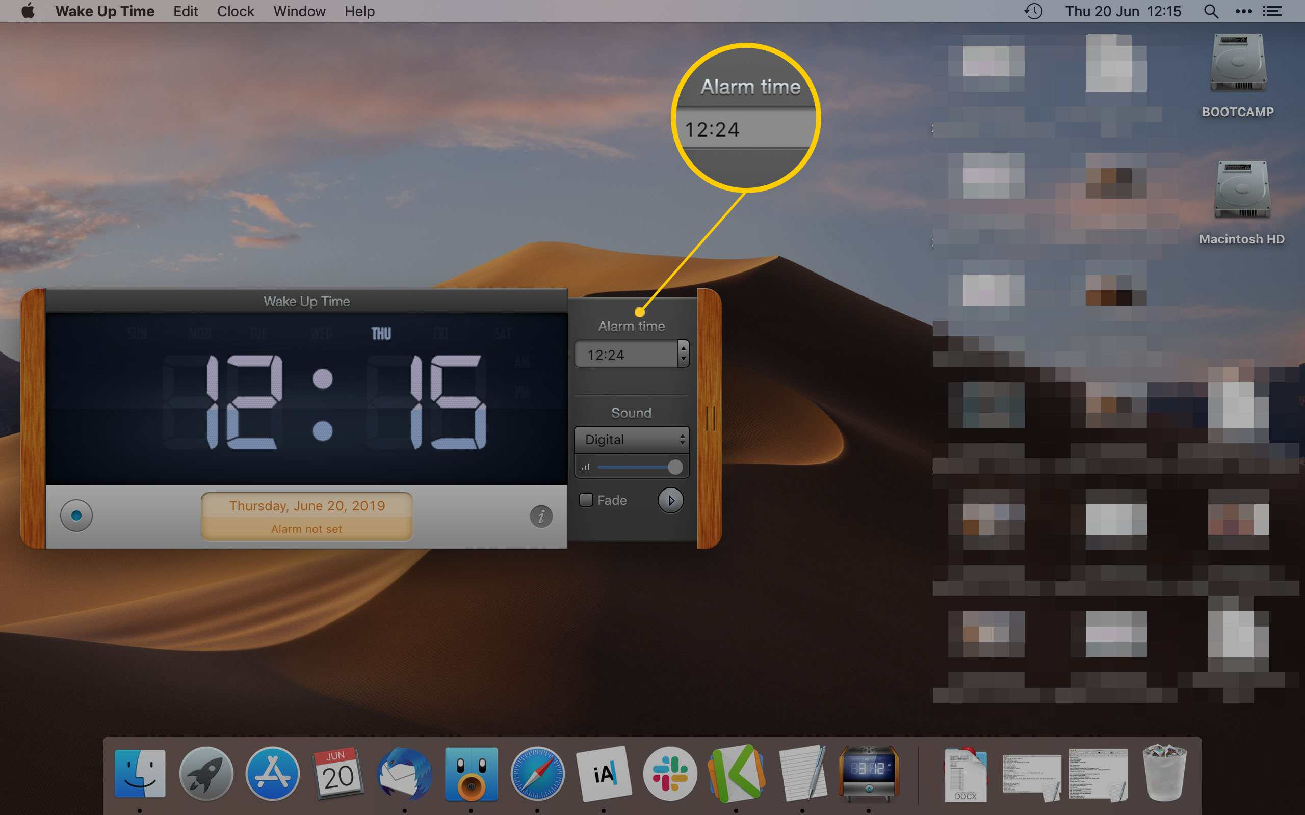 Wake Up Time App on Mac displaying how to set an alarm time
