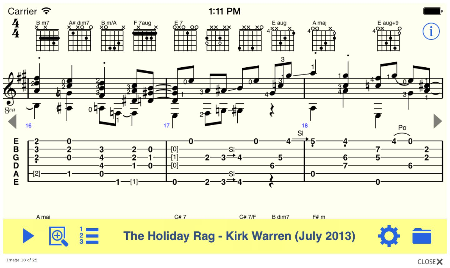Sheet music in the TEFview app for iOS