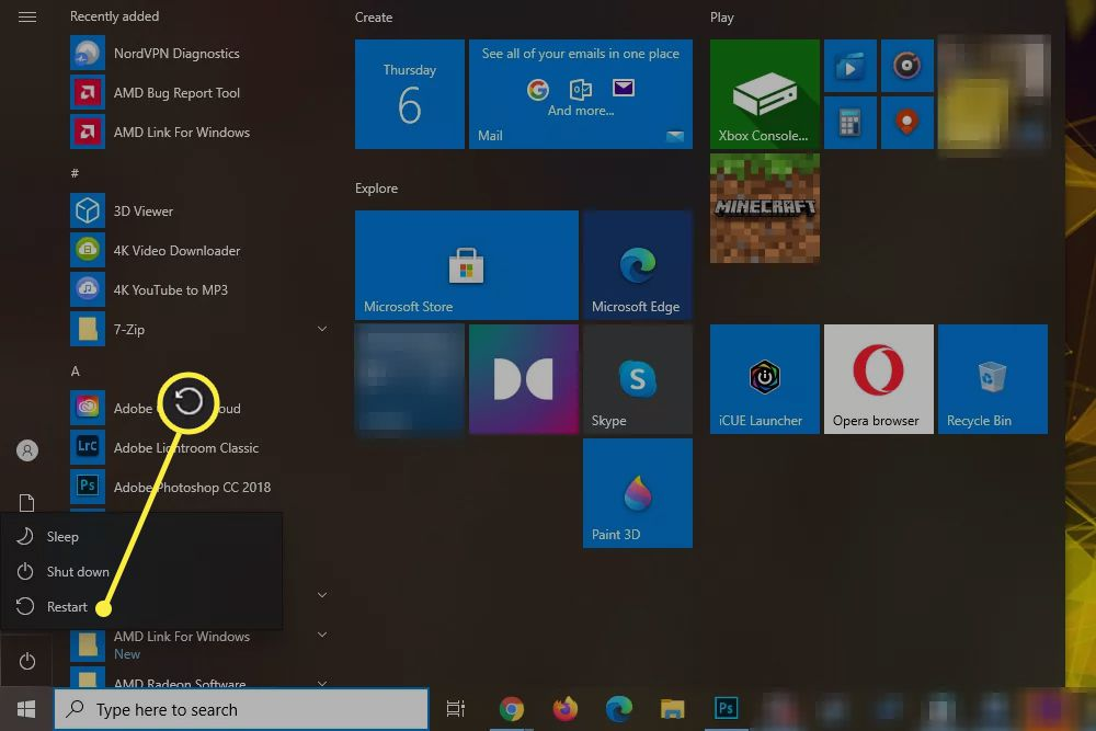 Windows 10 power menu with the Restart option highlighted