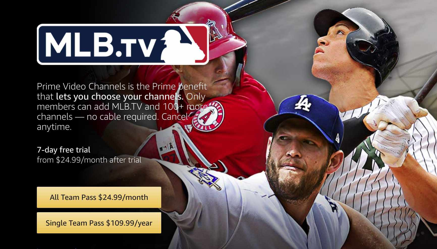 Click on an option to subscribe to MLB.tv