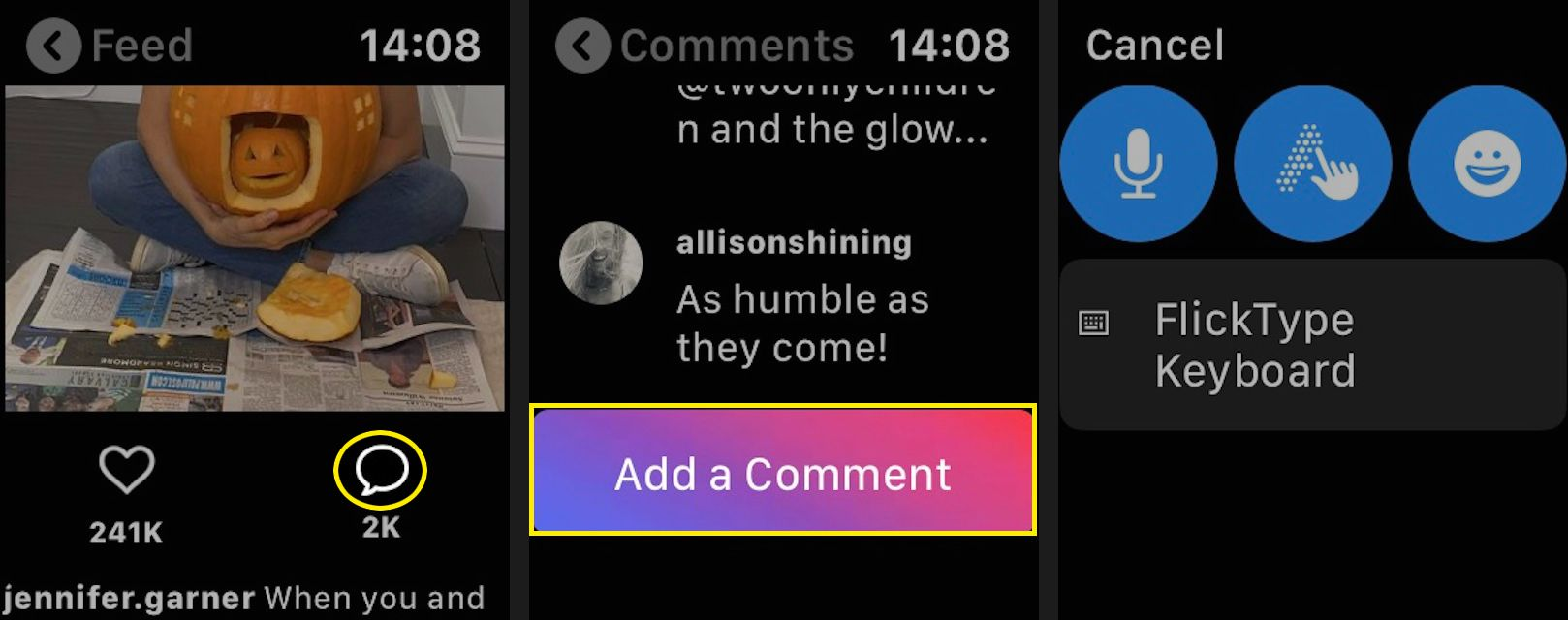 To make a comment, tap the speech bubble, scroll down, and tap Add a Comment. You'll be taken to a screen with your comment options.