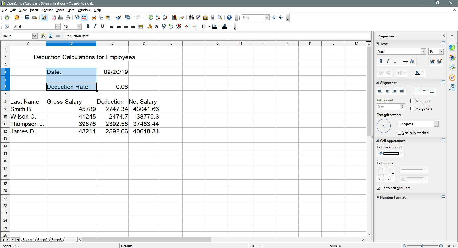 Date and deduction rate cells are selected in OpenOffice Calc.