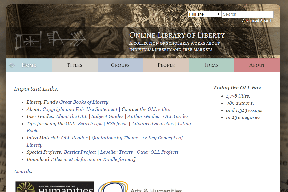 Online Library of Liberty website