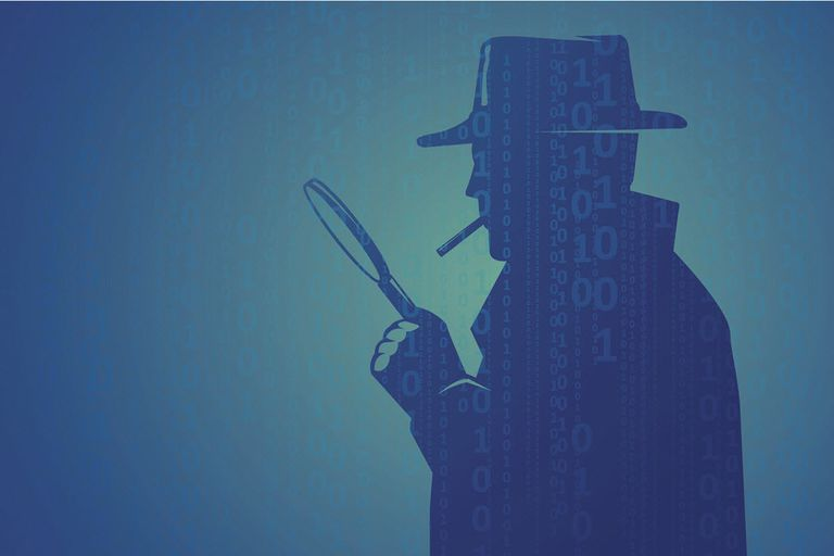 An illustration of a detective or private eye searching the web.