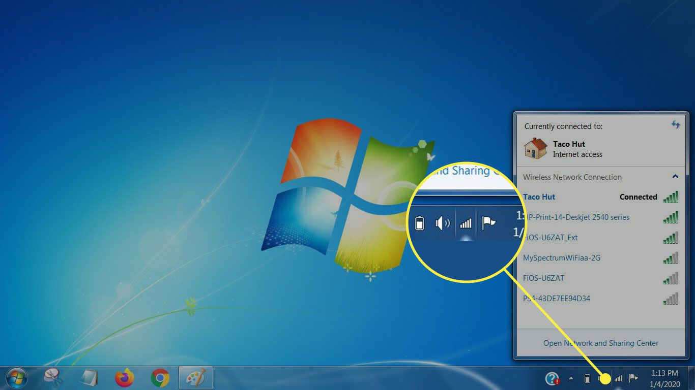 Windows XP showing the wireless network icon