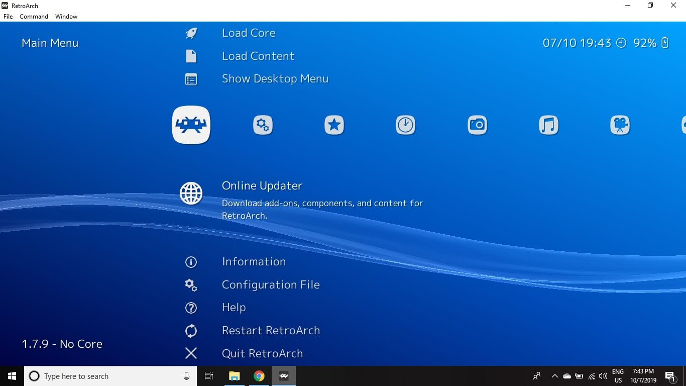 Select Online Updater from the main menu to download updates and extensions to customize RetroArch.