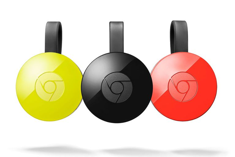 3 Chromecasts in yellow, black, and red