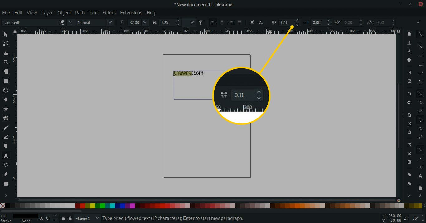 space between letters tool in Inkscape