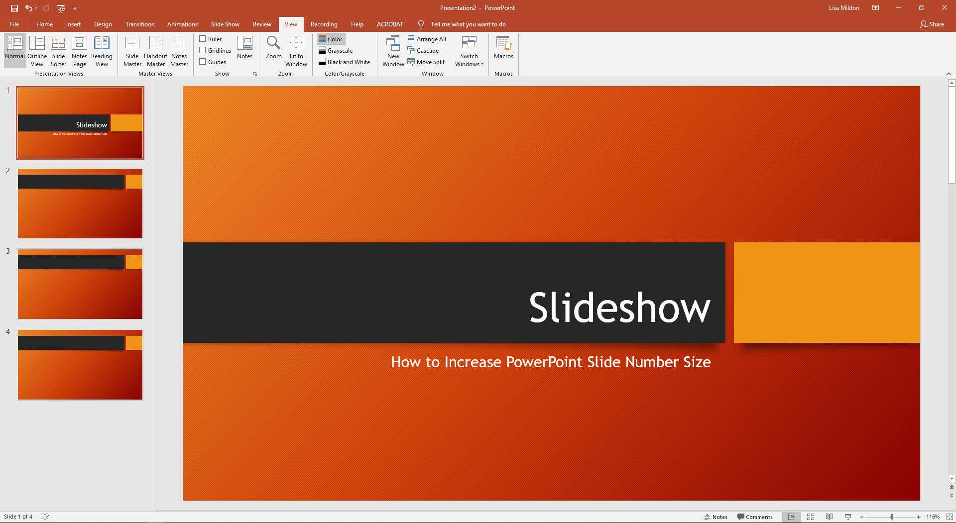 PowerPoint slideshow displaying View tab.