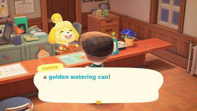 Isabelle talking about a golden watering can in Animal Crossing: New horizons